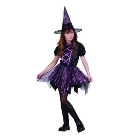 Glitter Spider Witch Costume - Size Child Large 12-14