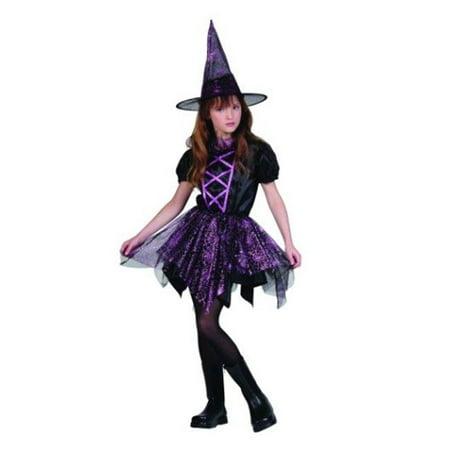 Glitter Spider Witch Costume - Size Child Large (Child Glitter Witch)