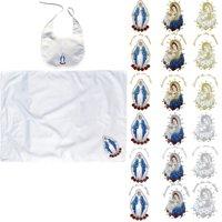 Baby Baptism White Swaddle Blankets & Bib Set Embroidery Holy Virgin Mary & Pope