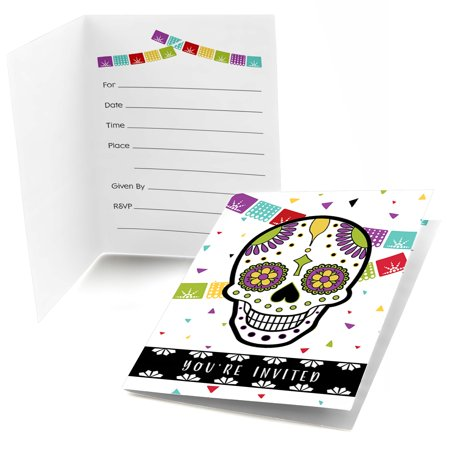 Day Of The Dead - Fill In Halloween Sugar Skull Party Invitations (8 count) - Halloween Party Items