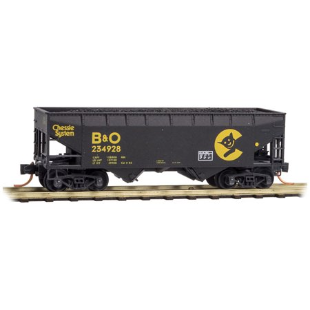 Chessie System - Micro-Trains MTL N-Scale 2-Bay Hopper Chessie System Graffiti w/ Smiling Cat