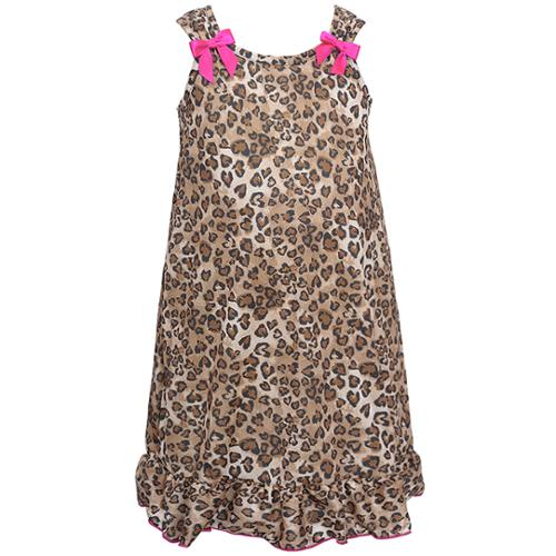 I.C. Collections Little Girls Brown Leopard Spot Pink Bow Nightgown 2T-6X