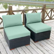 Bellini Primland Deep Seating Armless Chairs - Set of 2 - Sunbrella Spectrum Mist