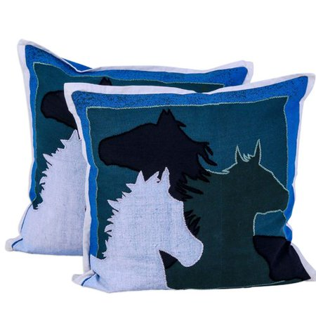 Millwood Pines Lexie Countryside Horses Cotton Throw Pillow (Set of 2)