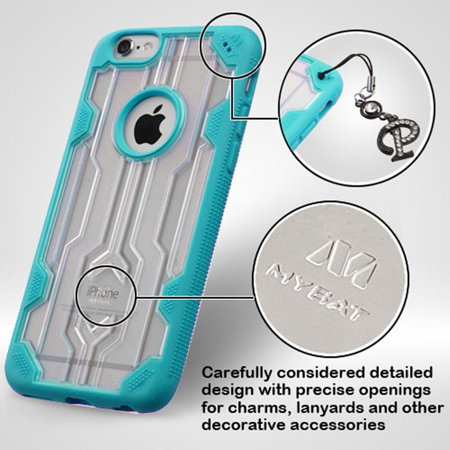 Insten Hard Rubber Coated Cover Case For Apple iPhone 6 Plus/6s Plus - Clear/Teal - image 6 de 7