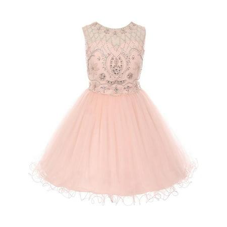 713705f34d Cinderella Couture - Little Girls Blush Pink Beaded Satin Tulle Corset  Short Flower Girl Dress 6 - Walmart.com