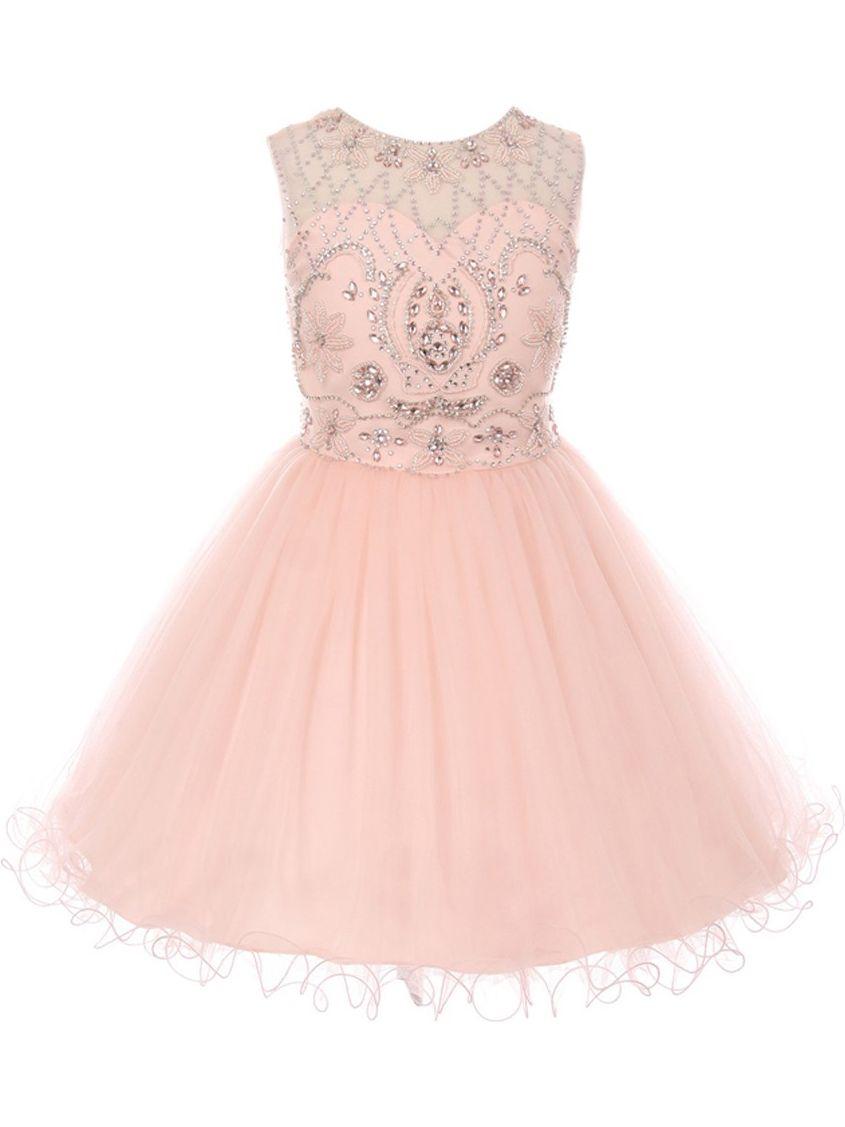 Little Girls Blush Pink Beaded Satin Tulle Corset Short Flower Girl Dress 6