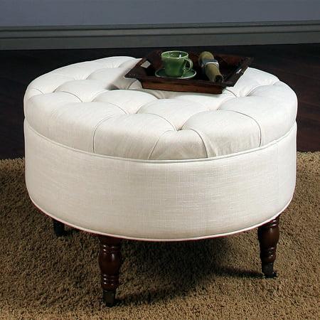 Abbyson Avernce Round Tufted Ottoman White