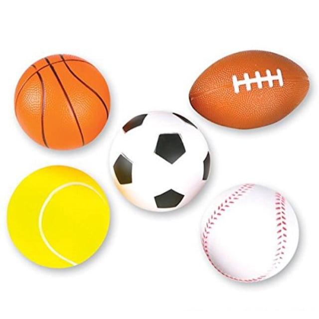 Neliblu 5 Soft Foam Sports Balls For Kids 3 5 Perfect For Small Hands Includes 1 Soccer Ball 1 Basketball 1 Baseball 1 Football And 1 Tennis Ball Walmart Com Walmart Com