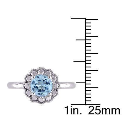 Solitaire Halo Blue Topaz Ring 1 1/4 Carat (ctw) in 10K White Gold - image 2 de 3