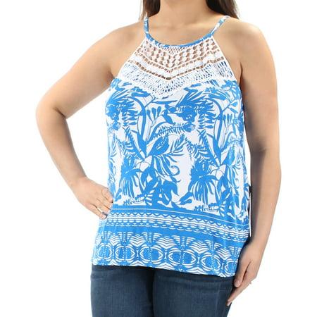 INC Womens Blue Embellished  Crochet Trim Floral Sleeveless Halter Top  Size: XL