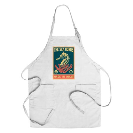 Miami  Florida   Seahorse Woodblock  Blue   Pink    Lantern Press Artwork  Cotton Polyester Chefs Apron
