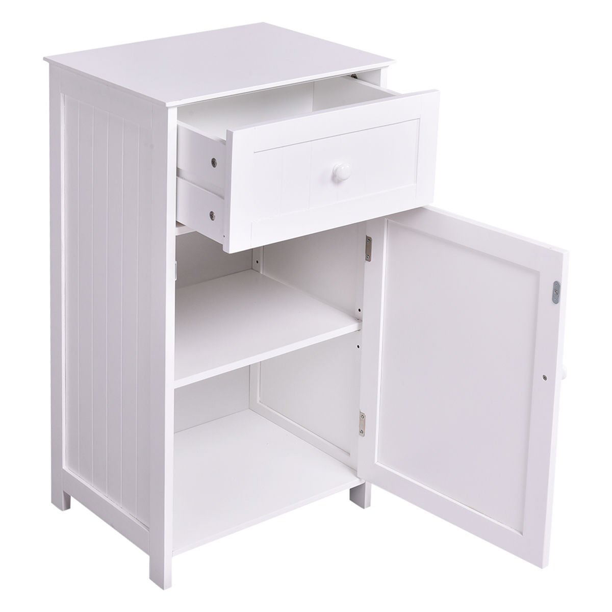 Costway Floor Storage Cabinet Organizer Cupboard Drawer ...