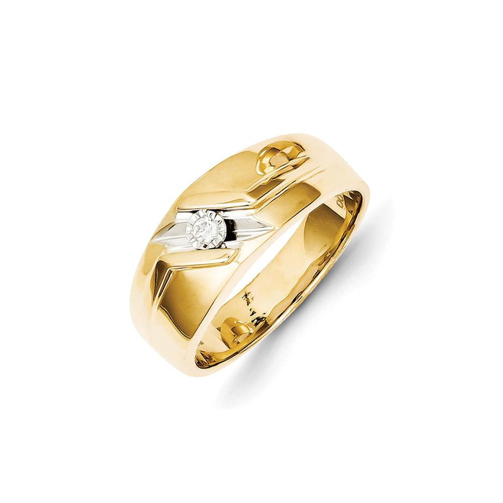 14k Yellow Gold & Rhodium Diamond Men's Ring. Carat Wt- 0.05ct