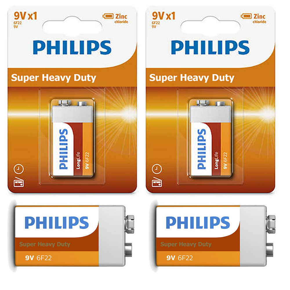 4 Pc Philips 9V Batteries 9 Volt Super Heavy Duty Battery 6F22 Made Usa Exp 2019