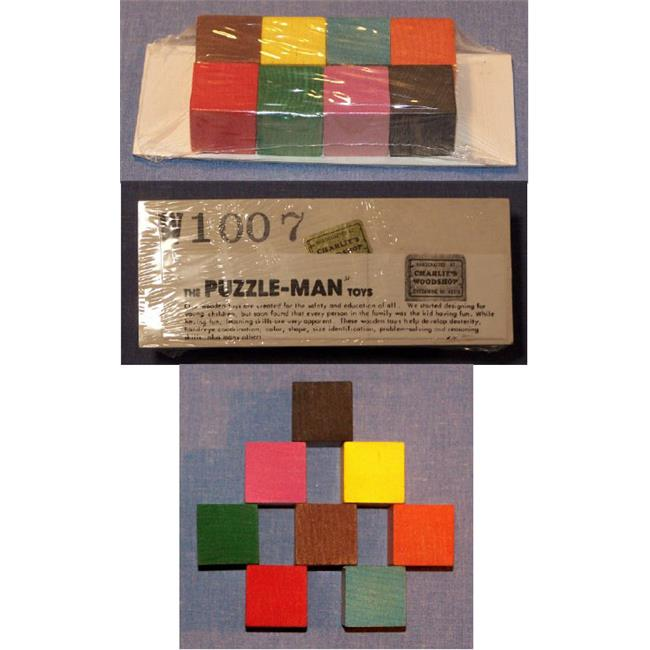 THE PUZZLE-MAN TOYS W-1007 Wooden Educational Baby Blocks - Small Set of 8