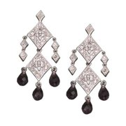 CZ EAR539-A C.Z. AND AMETHYST RHODIUM PLATED - .925 - STERLING SILVER EARRINGS