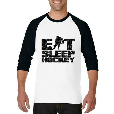 Eat Sleep Hockey Follow Hockey Games Hockey Scores Match W Hockey Stick Womens Raglan Sleeve Baseball T Shirt