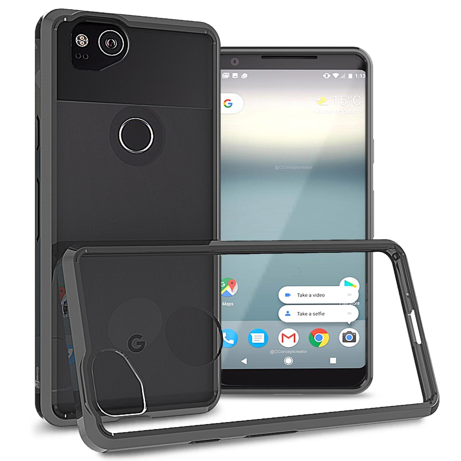 CoverON Google Pixel 2 Case, ClearGuard Series Clear Hard Phone Cover