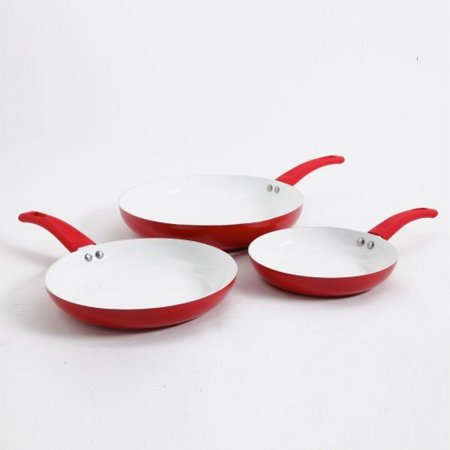 3 Ceramic Coated Fry Pan Eco Friendly Cookware Set Sizes
