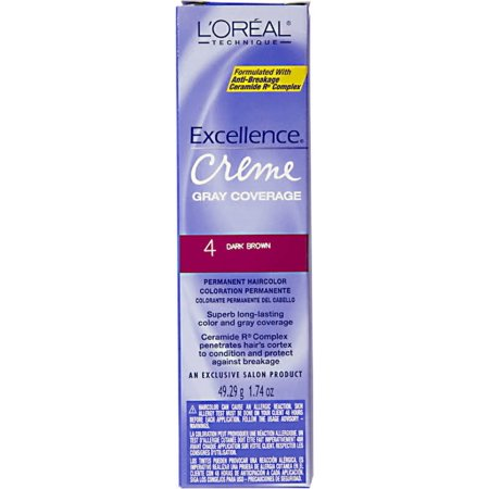 L'Oreal Excellence Creme Gray Coverage Permanent Hair Color, Dark Brown [4] 1.74