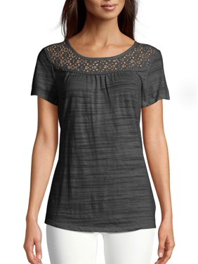 Women's Short-Sleeve Peasant Tee with Lace