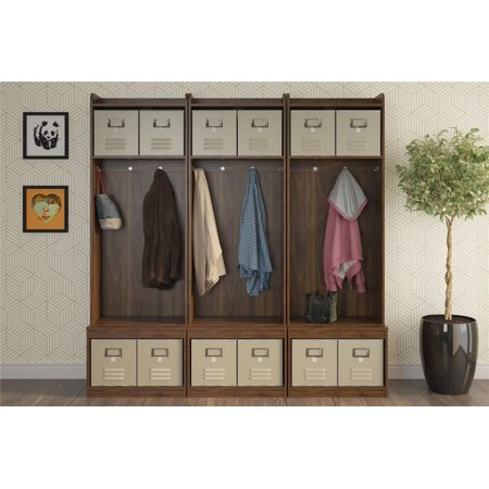 Novogratz Journey Entryway Hall Tree with Storage Bench Set of 3, Walnut