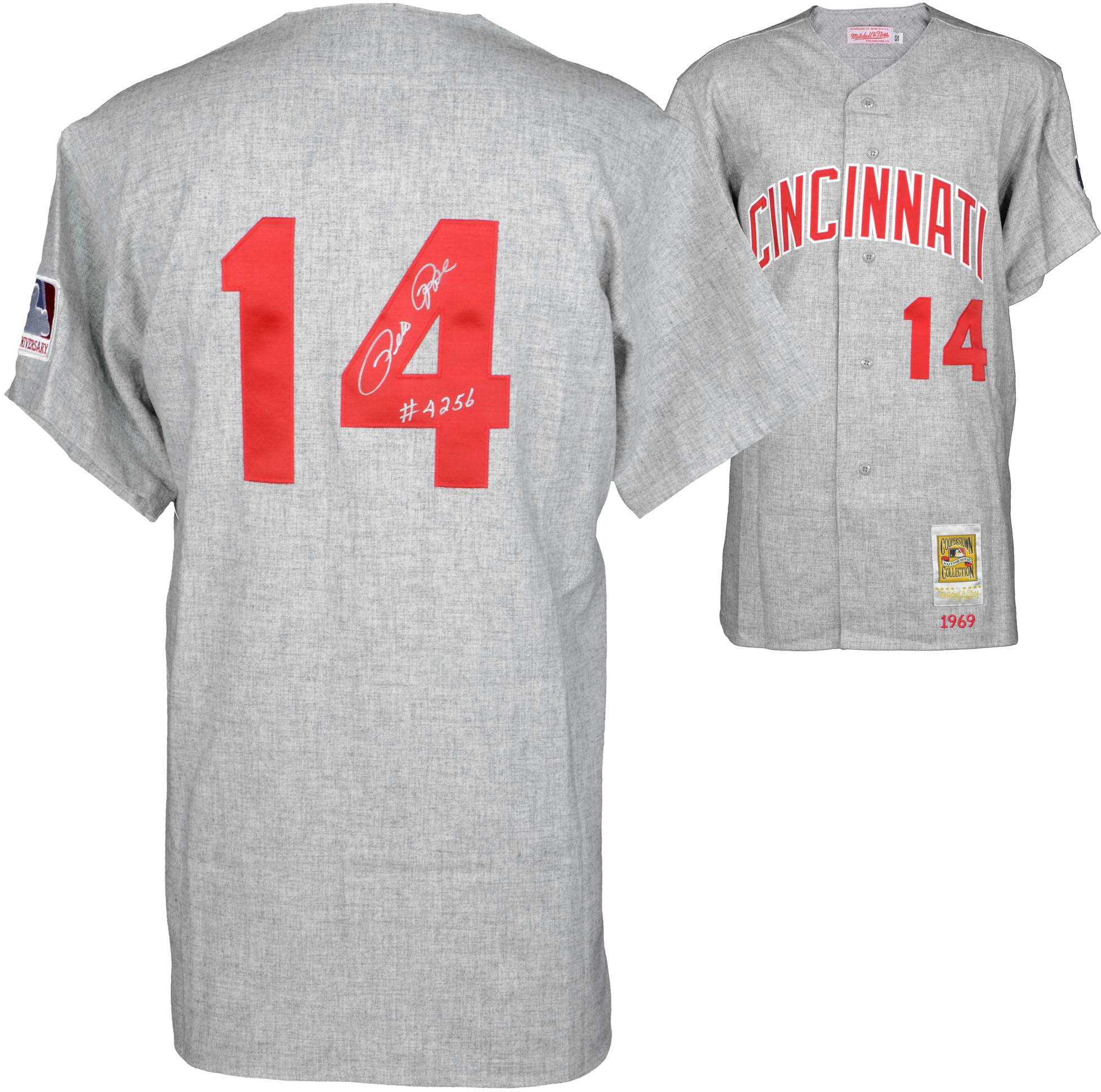 Pete Rose Cincinnati Reds Autographed 1969 Mitchell & Ness Gray Jersey with 4256 Inscription - Fanatics Authentic Certified