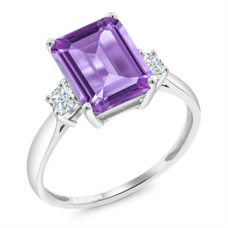 18K White Gold Plated Princess Cut Amethyst CZ Ring