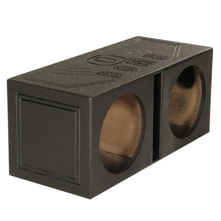QPower QBOMB10V Dual 10 Inch Vented Port Subwoofer Sub Box w/ Bedliner Spray 10 Inch Dual Speaker Box