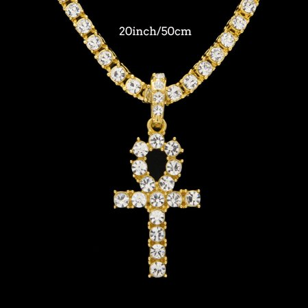iLH Mallroom Hip Hop Men Women Jewelry Bling Rhinestone Crystal Key Cross Pendant Necklace