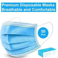 Disposable Face Mask - 50 Pack - Disposable Face Masks, 3-ply Elastic Ear Loop Filter Mask