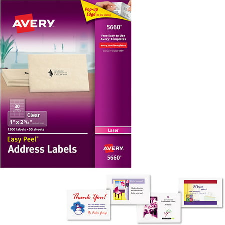 Avery Laser Postcards, White, 200-Pack WITH Avery 5660 Easy Peel Clear Mailing Labels for Laser Printers, 1; x 2-5/8;, 1500 Labels/Pack