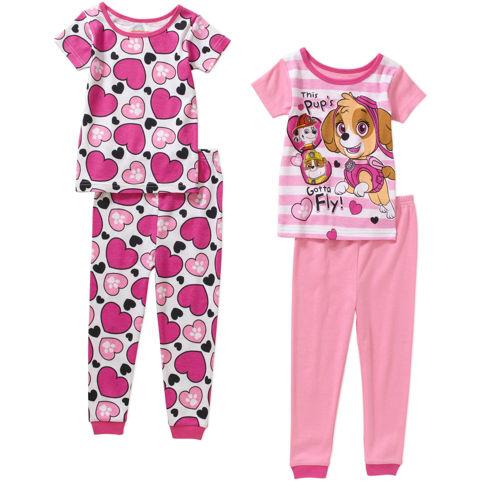 Paw Patrol Toddler Girl Cotton Tight Fit Short Sleeve PJ Set, 4-Pieces