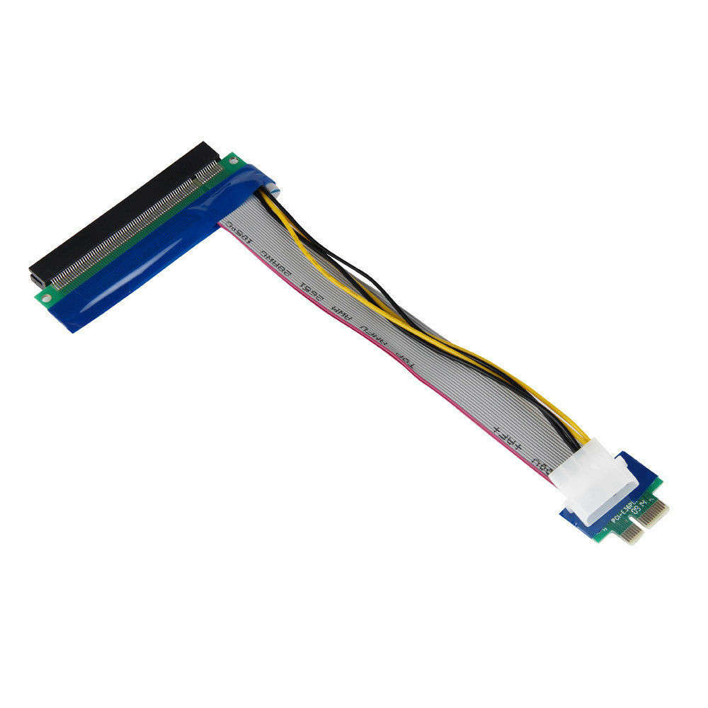 PCI-E 1x To 16x Extender PCI Express Riser Ribbon Cable with Molex Power 34276889502 - image 2 de 7