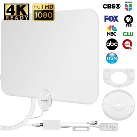 Fosmon HDTV Antenna [2018 Latest], Ultra Thin Indoor Digital TV Antenna 50 - 80 Miles Long Ranges, UHF/VHF/1080p 4K Free TV Channel, With Amplifier Signal Booster / 10FT Coaxial Cable (White)