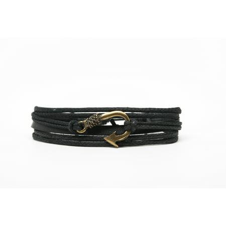 Fish Hook Rope and Leather Adjustable Unisex Charm Bracelet ()