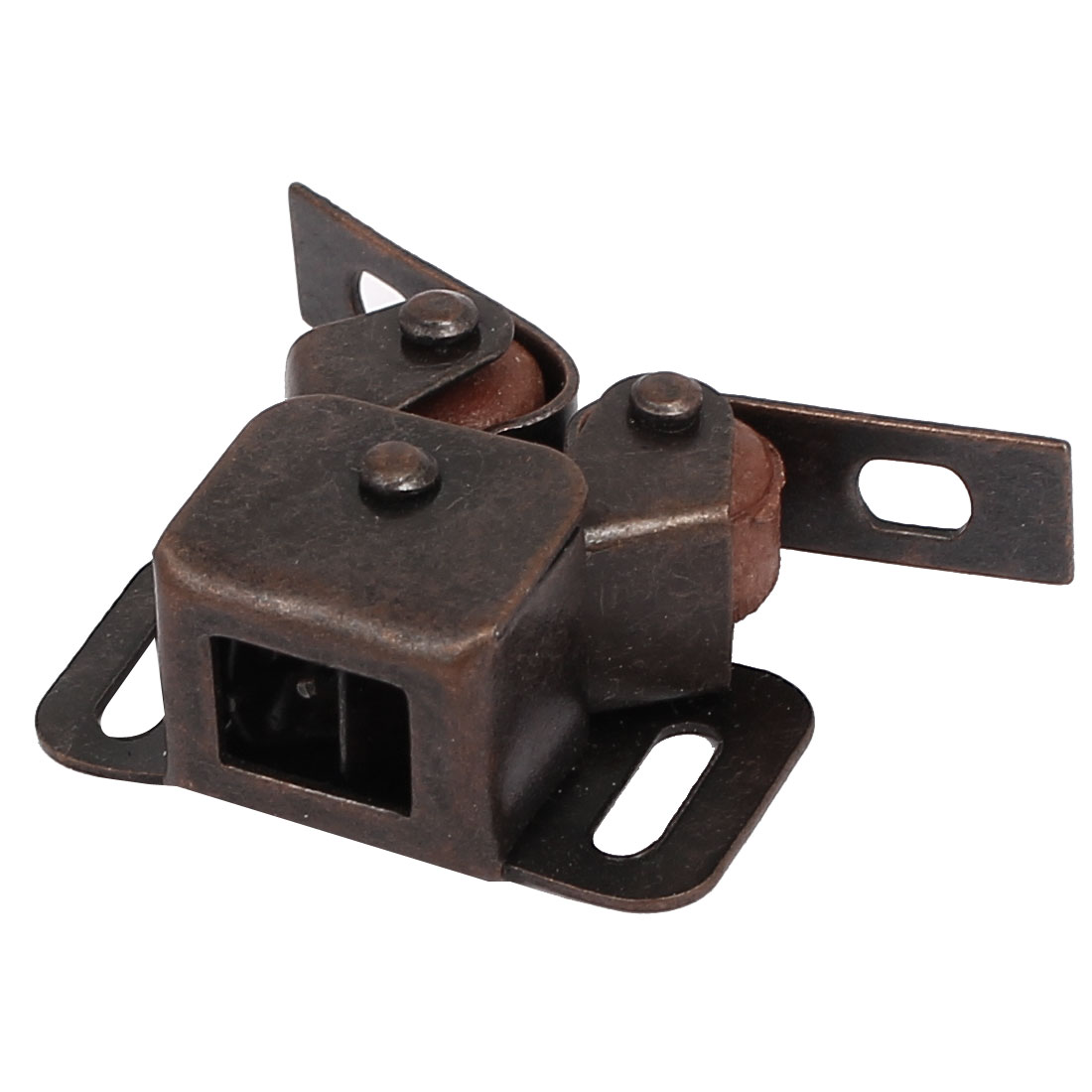 Cabinet Wardrobe Door Double Ball Roller Latch Catch Copper Tone 41x31x15mm