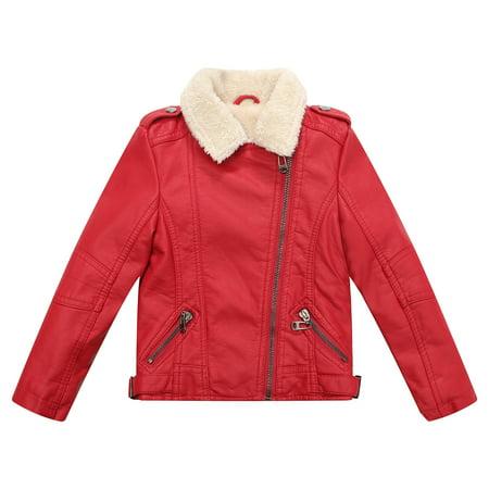 Richie House Boys Red Faux Leather Short Fleece Inside Coat 7/8