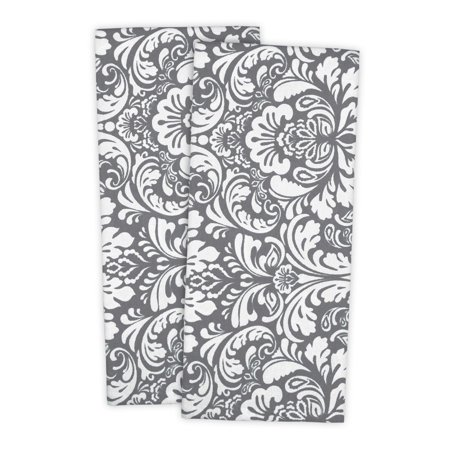 (Design Imports Damask Dishtowel Set, Set of 2, 28