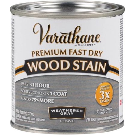 Varathane 269398 Fast Dry Wood Stain, 1/2 Pint, Weathered Gray