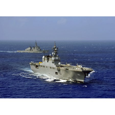 Jds Hyuga Sails In Formation With Us Navy And Japan Maritime Self Defense Force Ships Canvas Art   Stocktrek Images  34 X 24