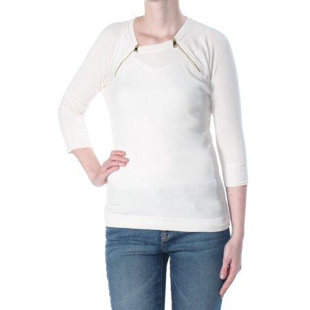 RALPH LAUREN Womens Ivory Zippered Textured 3/4 Sleeve Crew Neck Sweater  Size:
