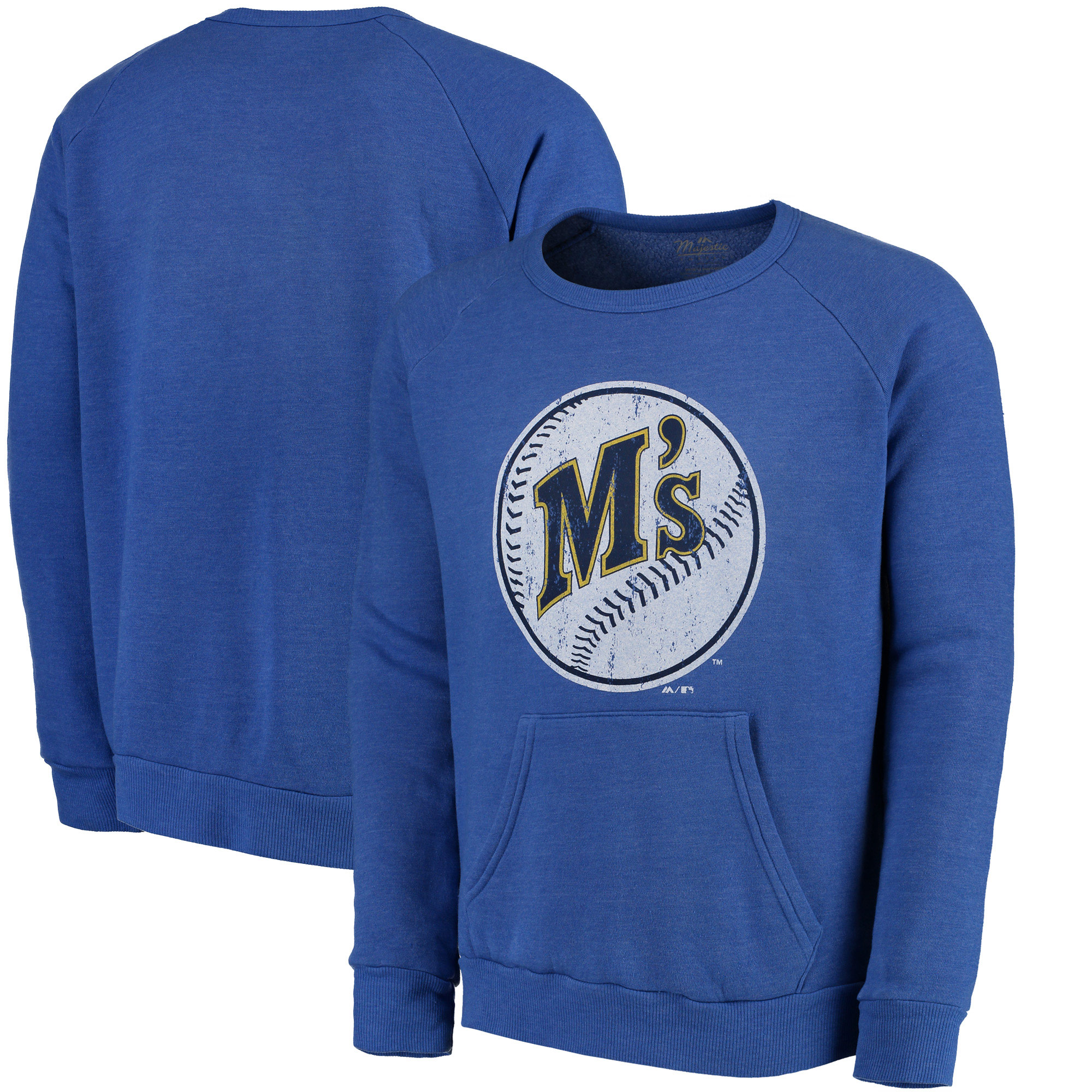 Seattle Mariners Majestic Threads Cooperstown Collection Tri-Blend Pocket Fleece Sweatshirt - Royal