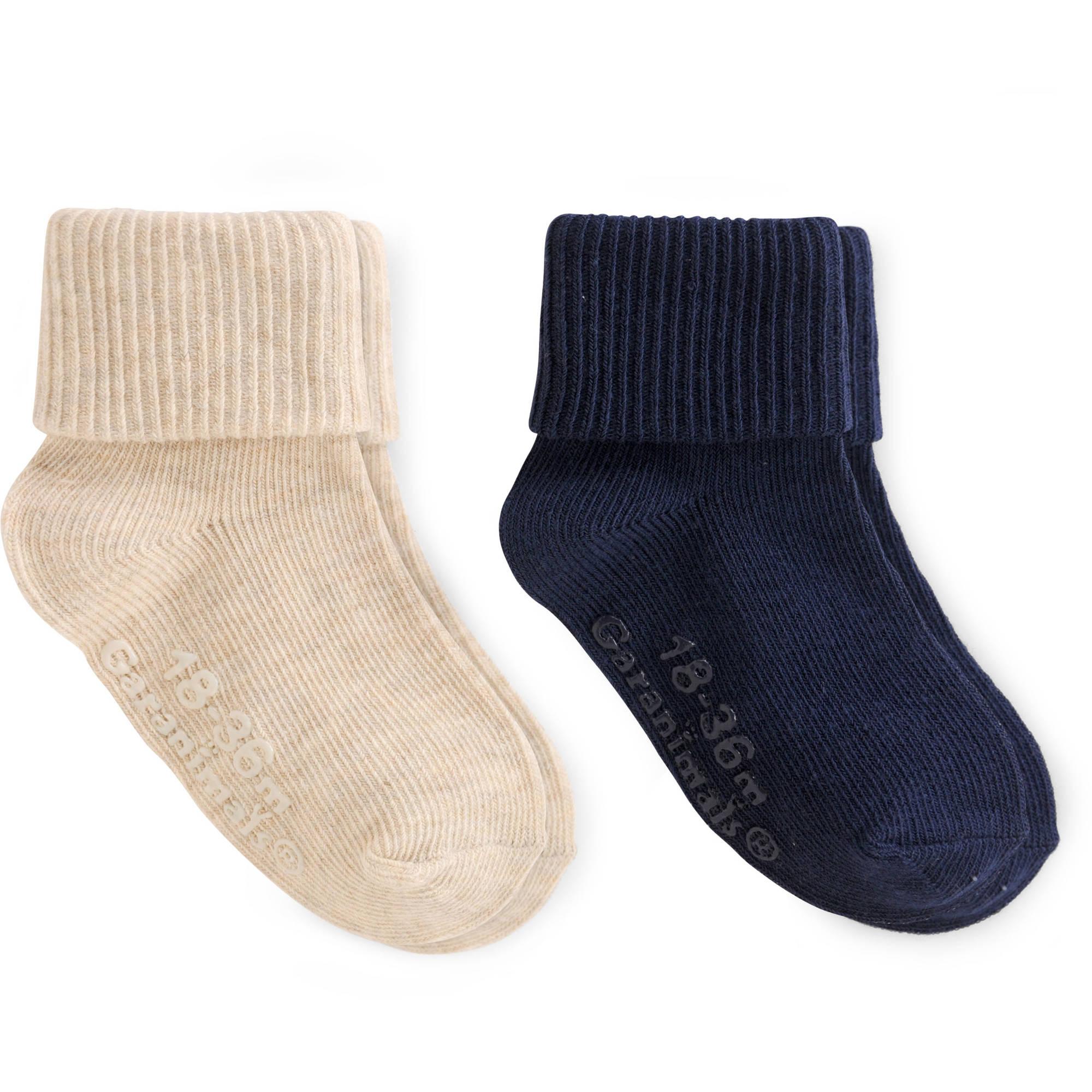 Garanimals Baby Toddler Boy Navy Khaki Gripper Socks Ages NB-5T, 2-Pack