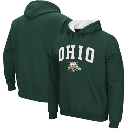 Ohio Bobcats Stadium Athletic Arch & Logo Tackle Twill Pullover Hoodie - Green