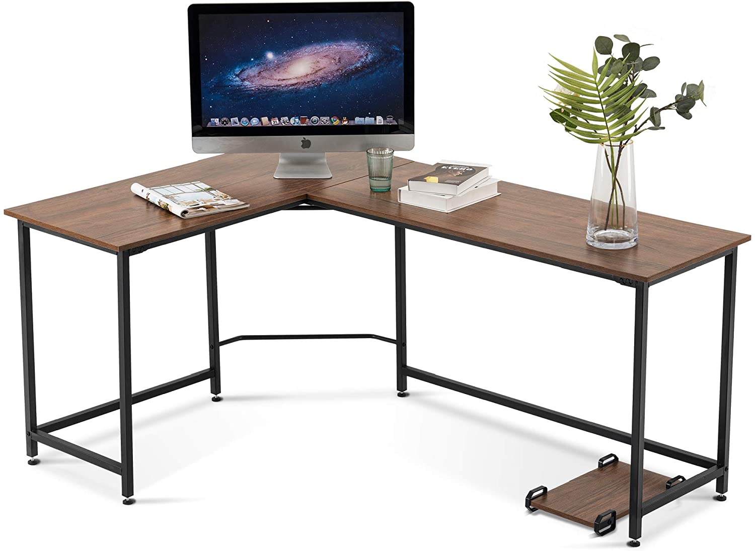 Ivinta L Shaped Desk Corner Desk Gaming Desk Pc Table Writing Workstation Simplest Modern Computer Desk For Home Office Small Space Brown Walmart Com Walmart Com