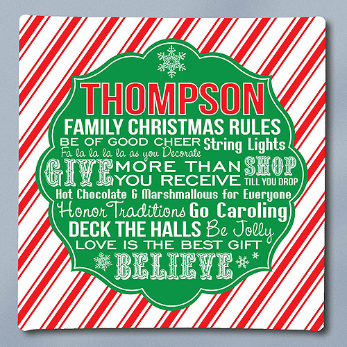 Personalized Christmas Rules Canvas
