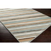 9' x 13' Canyon Stripes Sea Blue Wool Area Throw Rug