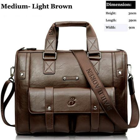 Men Business Shoulder Bag Messenger Handbag Large Compound Cowhide Bag (Cowhide Messenger)